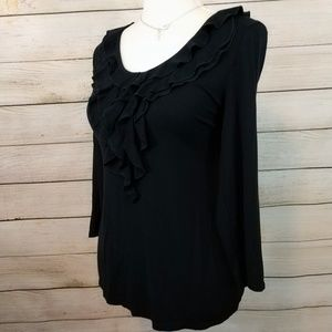 Rafaella Size Medium Ruffle Black Blouse